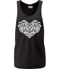 camiseta regata criativa urbana cavada coração tribal preta