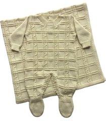 conjunto manta e macacão londres passion tricot ninive - kanui