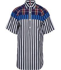hcm mix fabric shirt overhemd met korte mouwen blauw hilfiger collection