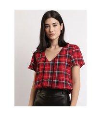 blusa feminina cropped blusê estampada xadrez com entremeio e babado na manga decote v vermelha