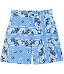 msgm bandana print shorts