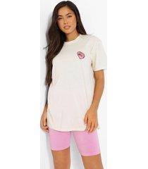 wifey hartjes t-shirt met borstopdruk, ecru
