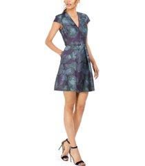vince camuto belted floral print fit & flare dress