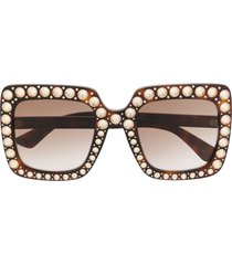 gucci eyewear crystal-embellished square-frame sunglasses - brown