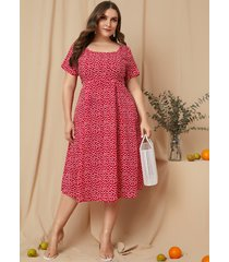 vestido largo de manga corta con cuello cuadrado rojo calicó de yoins