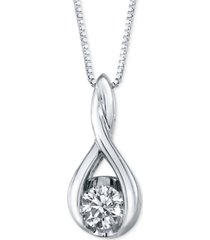 sirena diamond twist pendant necklace in 14k white gold (1/8 ct. t.w.)