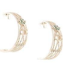 chanel pre-owned half-moon embossed earrings - silver