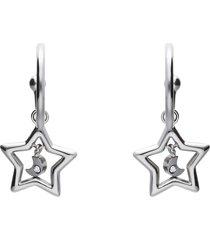 orecchini a cerchio lady chic acciaio stella e cristalli per donna