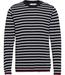 oscar stripe stickad tröja m. rund krage svart kronstadt