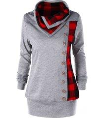 plus size plaid cowl neck tunic sweatshirt