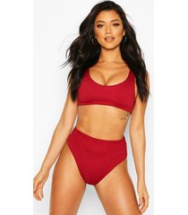 mix & match crinkle high waisted bikini brief, wine