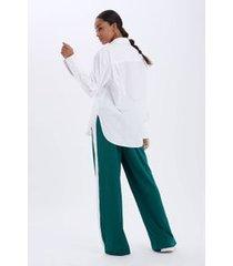 calca pantalona detalhe lateral verde rafia