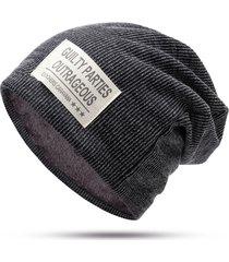 berretto da viaggio casual da viaggio invernale invernale in lana di velluto a righe da uomo