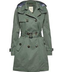 coats woven trenchcoat lange jas groen esprit casual