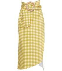 fadua belted gingham cotton-poplin midi skirt