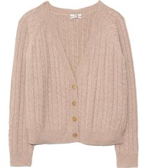 cropped cable knit cardigan in sand melange