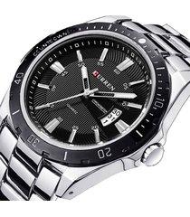 reloj hombre deportivo militar acero curren 8110 plateado negro