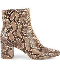 heather iii snakeskin-embossed leather booties