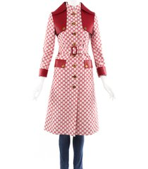 gucci red gg supreme cotton leather belted trench coat beige/red/monogram sz: xs