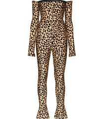 halpern leopard print off-the-shoulder jumpsuit - neutrals