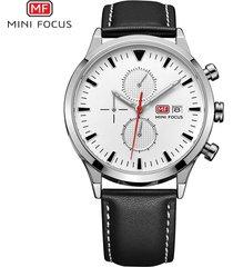 reloj para hombre/correa de piel/ mini focus / 0015g / reloj-negro