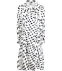 each x other multi-pocket polka-dot shirt dress - white
