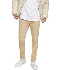 men's topman stretch skinny jeans, size 36 x 34 - beige