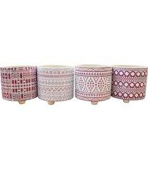 conjunto de vasos formas abstratas c/4 vasos kasa ideia - multicolorido - dafiti