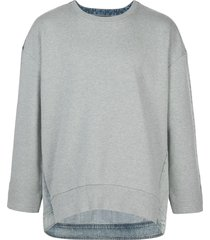 mostly heard rarely seen denim back sweatshirt - grey