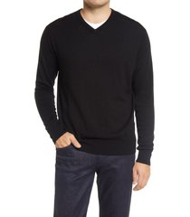 peter millar crown wool & silk v-neck sweater, size xx-large in black at nordstrom