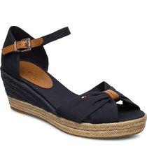 basic open toe mid wedge sandalette med klack espadrilles svart tommy hilfiger
