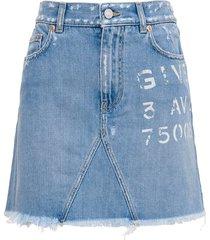 givenchy denim skirt with logo print