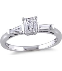 certified diamond (3/4 ct. t.w.) emerald-shape 3-stone engagement ring in 14k white gold