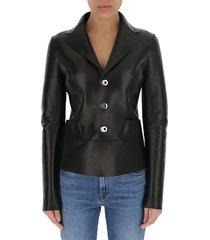 panelled leather blazer