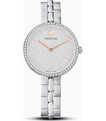 orologio cosmopolitan, bracciale di metallo, bianco, acciaio inossidabile