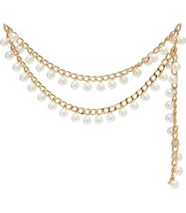 pearl 14k gold plated chain belt