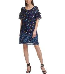 dkny printed ruffled-sleeve shift dress