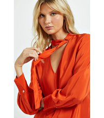 camisa de seda com faixa e fivela no pescoço laranja laranja pierre - 42