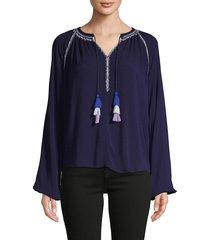 design history women's embroidered raglan-sleeve top - dark denim - size xs