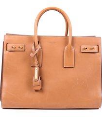 saint laurent sac de jour medium brown leather tote bag brown sz: l