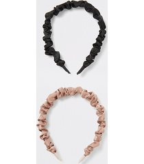 river island womens beige and black ruched headband 2 pack