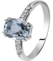 anello in oro bianco, acquamarina 1,02 ct e diamanti 0,04 ct per donna