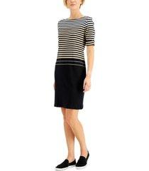 karen scott petite cotton boat-neck stripe dress, created for macy's