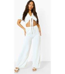 linnen jumpsuit met uitsnijding en strik, white