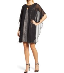caxlz by connected apparel lenny sequin cocktail dress with chiffon overlay, size 4 in gold at nordstrom