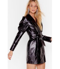 womens too much is faux leather enough mini dress - black