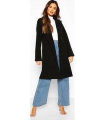 double breasted wool look coat, black