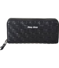 miu miu woven zip-around wallet