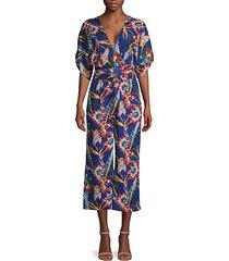 botanical-print kimono-sleeve jumpsuit