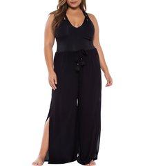 plus size women's becca etc. modern muse cover-up flyaway pants, size 0x - black